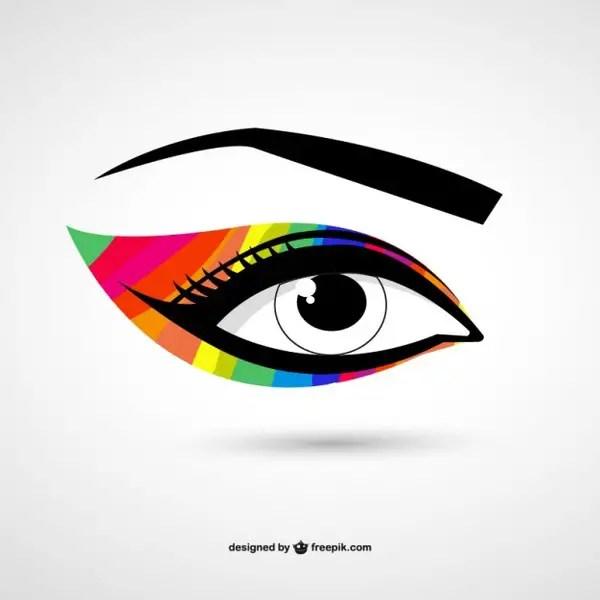 Eye Colorful Make-Up Free Vector