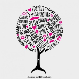 Family Tree Lettering Free Vector