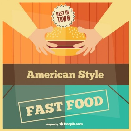 Fast Food Retro Card Template Free Vector