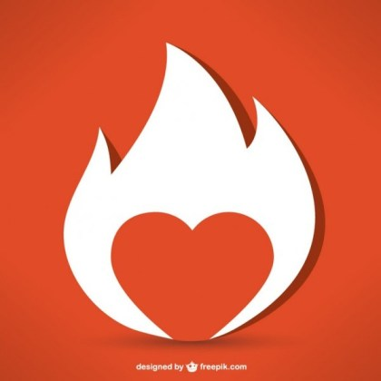 Fire Heart Graphic Free Vector