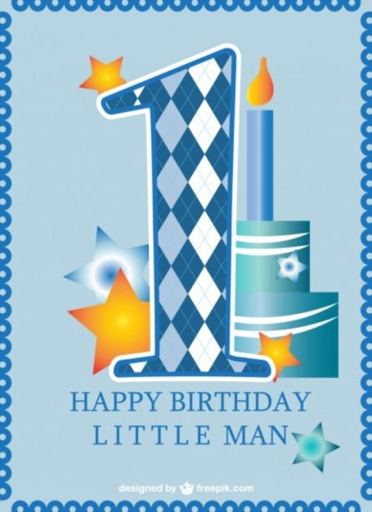 First Birthday Card Baby Boy Free Vector