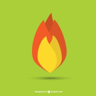Flame Flat Design Free Vector