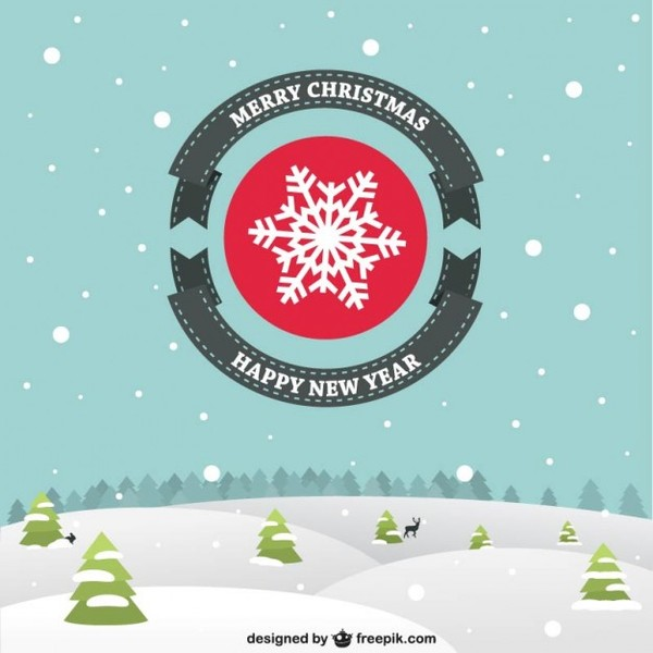 Flat Christmas Card with Snowy Landscape Free Vector