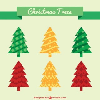 Flat Christmas Trees Pack Free Vector