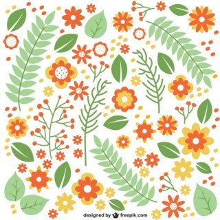 Flat Flowers and Leaves Pattern Free Vector