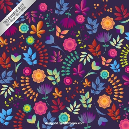 Floral Background in Colorful Style Free Vector