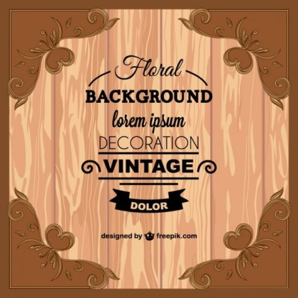 Floral Background Template with Wood Texture Free Vector