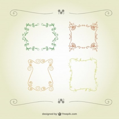 Floral Calligraphic Frames Free Vector