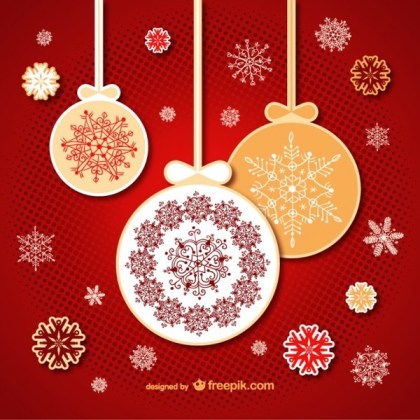 Floral Christmas Baubles Free Vector