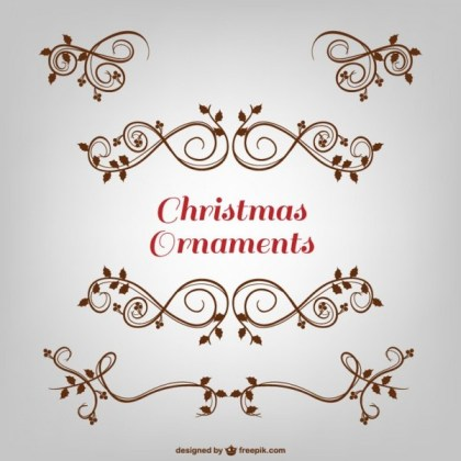 Floral Christmas Ornaments Free Vector