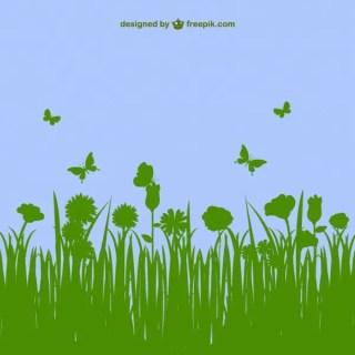 Floral Landscape Template Free Vector