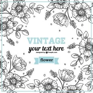 Floral Line Art Design Free Vector