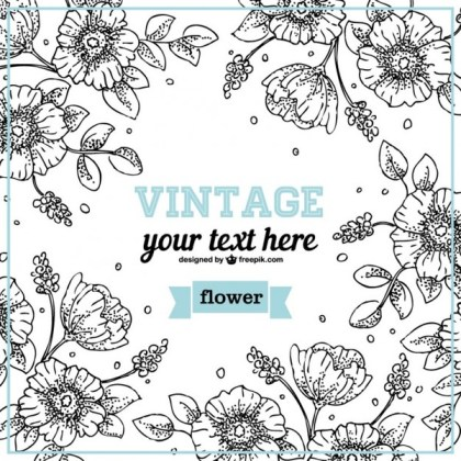 Floral Line Art Design Free Vector