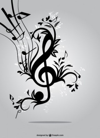 Floral Music Key Free Vector