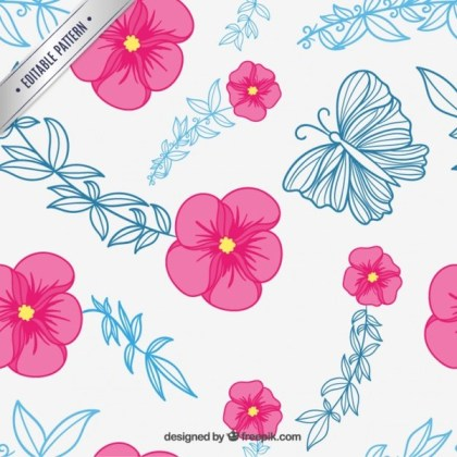 Floral Pattern with Butterflies Free Vector