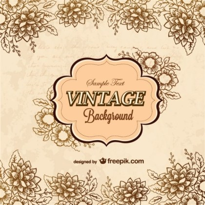 Floral Retro Greeting Card Free Vector