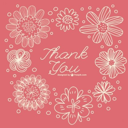 Floral Retro Thank You Note Free Vector