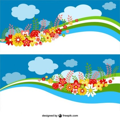 Floral Sky Banners Design Free Vector