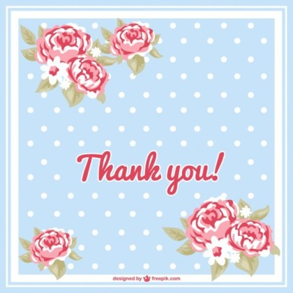 Floral Thank You Card Free Vector