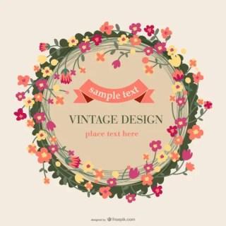 Floral Vintage Card Design Free Vector