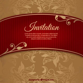 Floral Wedding Invitation with Riband Free Vector