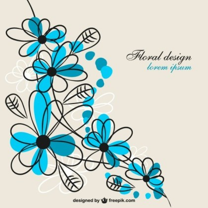 Flower Blue Design Free for Download Free Vector