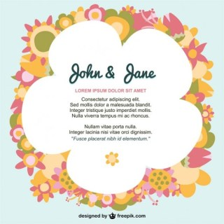 Flowers Design Invitation Free Vector