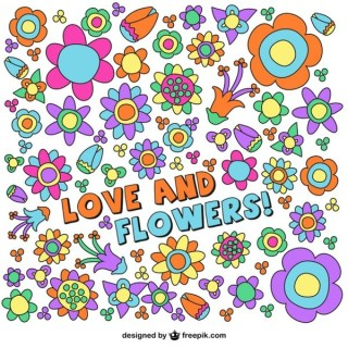 Flowers Drawing Background Free Vector