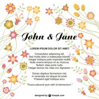 Flowers Wedding Invitation Free Vector
