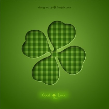 Four Leaf Clover Background Free Vector