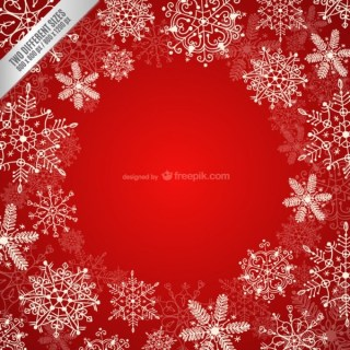 Frame with White Snowflakes Free Vector