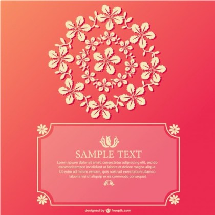 Free Ornamental Card Pink Design Free Vector