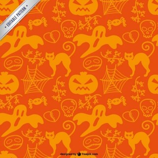 Free Pattern of Halloween Silhouettes Free Vector