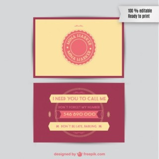 Free Retro Business Card Free Vector