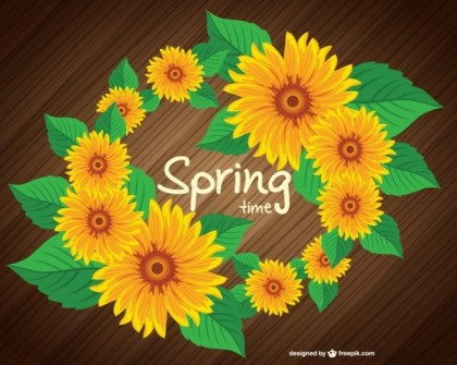 Free Spring Sunflower Design Free Vector