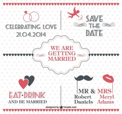 Free Vintage Wedding Invitation with Dotted Free Vector
