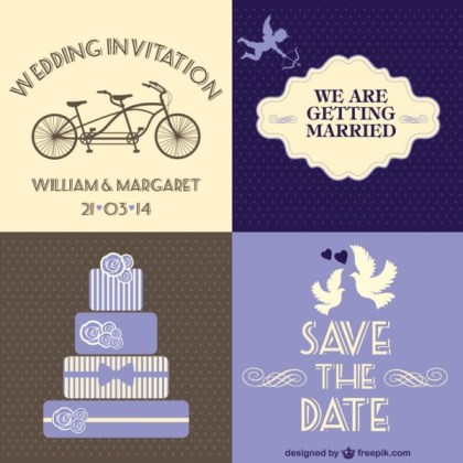 Free Wedding Card 4 Parts Free Vector