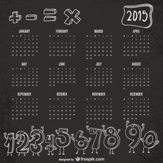 Funny Numbers 2015 Calendar Free Vector