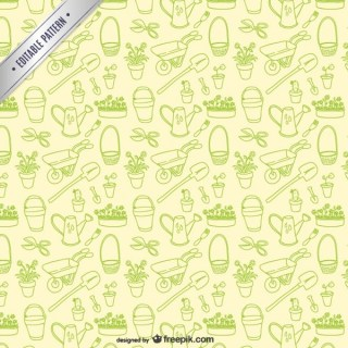 Garden Tools Editable Pattern Free Vector