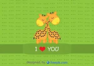 Giraffes Hugging – Cartoon Card Free Vector