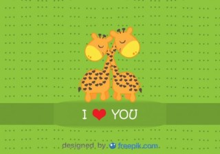 Giraffes Hugging – Cartoon Card Free Vector