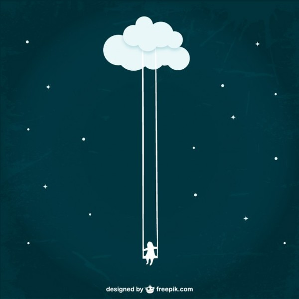 Girl Swinging From A Cloud Free Vector