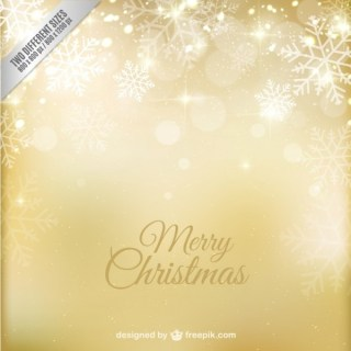 Golden Merry Christmas Background Free Vector