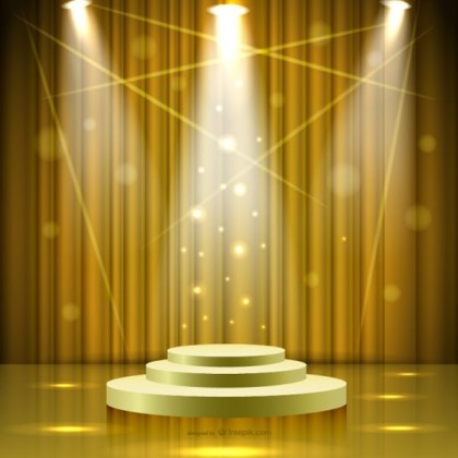 Golden Stage with Lights Free Vector