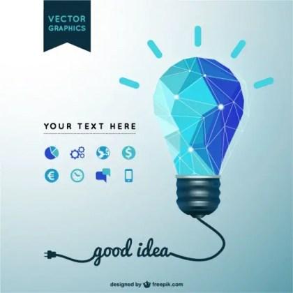 Good Idea with Light Bulb Free Vector