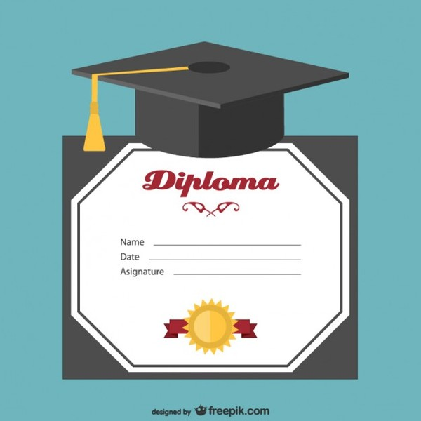Graduation Hat and Certificate Free Vector