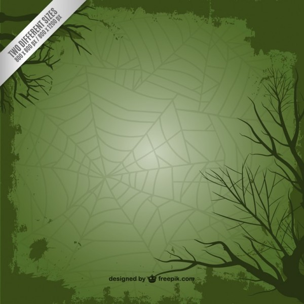 Green Background with Spider Web for Halloween Free Vector
