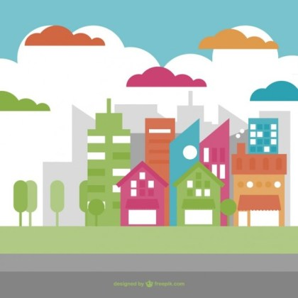 Green City Design Free Vector