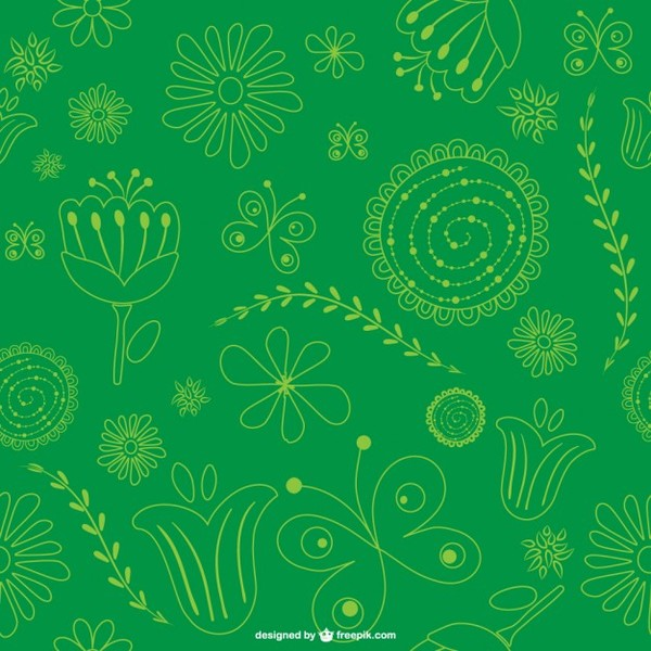 Green Floral Background Pattern Free Vector