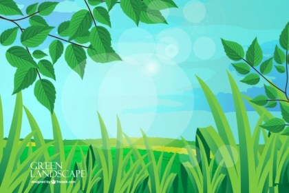Green Landscape Background Free Vector